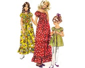 Simplicity 9389 Girls Boho or Maxi Dress Hollie Hobbie Peasant Dress 70s Vintage sewing Pattern Size 8 Breast 27 inches