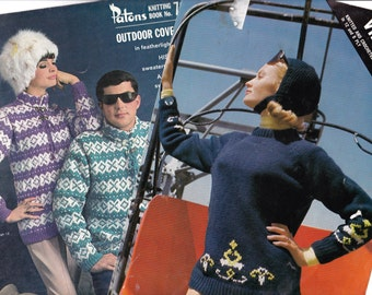 Lot of TWO 60s Vintage Knitting Pattern Booklets Retro Nordic Knit Ski Sweaters for men & women Originals not PDF