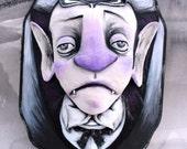 Ooak, Spun Cotton, Dracula, Large, 3-D, Halloween, Art, Wall Hanging, Vampire
