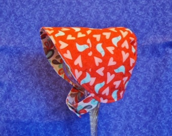 Coral Baby Bonnet with Turquoise Birds and Hearts with Chin Straps Snaps