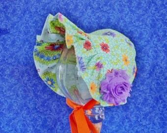 Aqua Baby Bonnet Reversible Bonnet