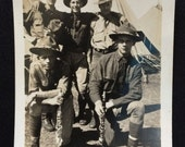Vintage Photo - WWI - 5 Soldiers in Front Of Tents - 2 Holding Clarinets