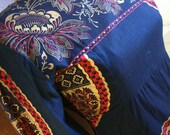 70s African Ethnic Blue Gold Print Cotton Caftan Maxi