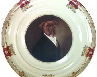 Portrait of Brutus the Boxer - Altered Vintage Plate 10""