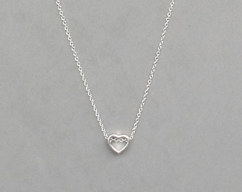 Small Heart on Silver Plated Necklace