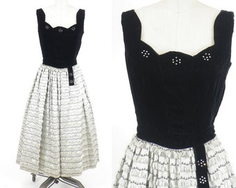 50s Dress, 1950s Holiday Party Dress, 50s Formal Dress, Black Velvet and Gray Satin Fringe Dress, Johnnye Junior XS