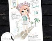 Surf Birthday Party Invitation, Beach, Skater Girl, Surfer, Surfboard, Skateboard, Printable, Pool, DIY, Digital or Printed Invitation