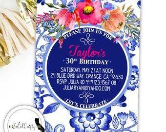 Watercolor Floral Birthday Party Invitation, Garden Party, Blue China Print, Bridal Shower, Printed or Printable Invitations, Free Shipping