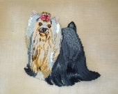 Monica Imports Silky Yorkshire Terrier Dog Preworked Needlepoint Canvas 18 x 18