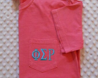 Monogrammed Comfort Colors Adult  Short Sleeve Pocket  Shirt with Your  Greek letters