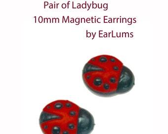 Ladybug Magnetic Earrings Clip-on Earrings No Piercings 10mm Keloid Earrings