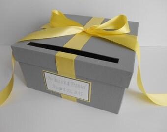 Wedding Card Box Gray and Yellow Wedding Card Box, Custom Made to Order