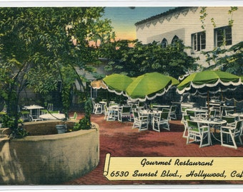 Gourmet Restaurant Sunset Boulevard Hollywood California linen postcard