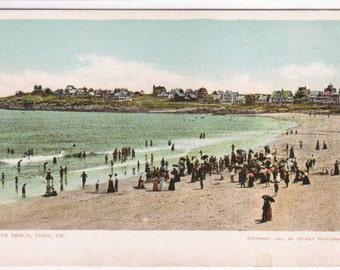 Beach Crowd York Maine Detroit Publishing 1905c postcard