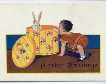 Easter Greetings Baby Bunny Box 1910c Holiday postcard