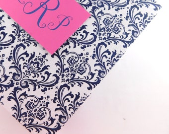 Navy Damask Baby Book Modern baby memory book Girl baby book custom and personalized