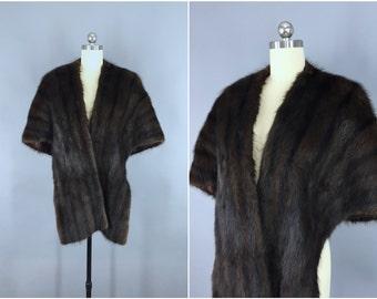 Vintage 1940s Mink Stole / Fur Shawl Wrap / 40s 50s 1950s / Chocolate Brown Winter Wedding / Mid-Century Mad Men