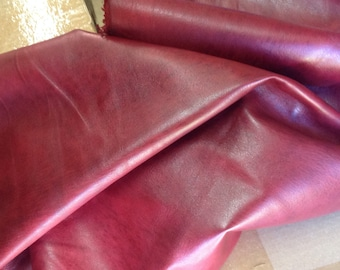 611RMNT.  Distressed Red Antique Glazed Leather Deerskin