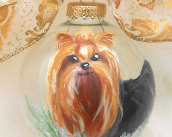 Yorkshire Terrier Hand Painted Ornament ~ Dog Ornament ~ Pet Keepsake ~ Girlfriend Gift  ~ Pet Ornament