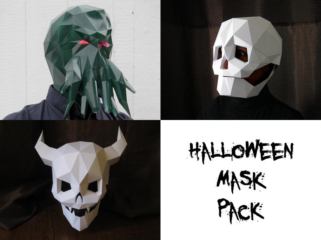 Halloween Mask Patterns Three in One Make Your Own Devil