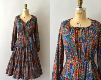 1970s Vintage Dress - 70s Autumn Floral Bohemian Dress