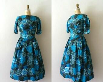 Vintage 1950s Dress - 50s Blue Floral Suzy Perette Dress