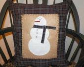 UNSTUFFED Snowman Pillow COVER Primitive Country Christmas Decoration Gift Idea Home Decor Snowmen Blue 16 x 18 Inch Plaid wvluckygirl