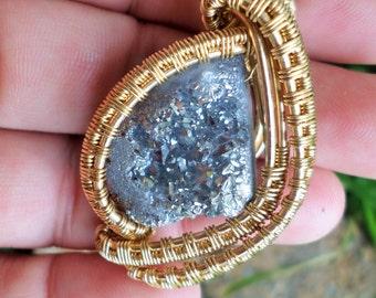 Druzy Wrap in NuGold/Mens Jewelry/Talisman/Titanium Quartz, Gift Boxed