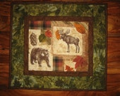 Bear Moose Quilted Table Topper, Rustic Cabin Mountain Decor, Pine Cones and Leaves, Table Topper, Reversible Table Mat, Handmade Runner