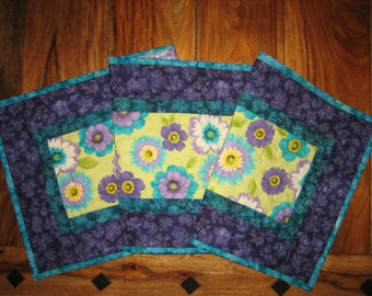 SALE-Price Reduced-Summer Table Runner, Purple Blue White Flowers on Yellow, Quilted Tablerunner, Reversible 13 x 47""