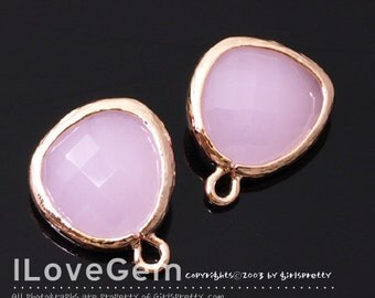 SALE 20% off // 10pcs of  P1750 Rose Gold plated, Pink Opal, Glass fancy rosecut 12.5mm, Glass pendant, Framed glass