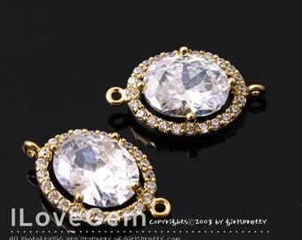 NP-1712 Gold Plated, Cubic zirconia, Oval Connector, 11X18.5mm, 2pcs / Cubic Connector, Cubic Pendant, Wedding jewelry