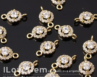 NP-1713 Gold Plated, Cubic zirconia, 6mm Round, Cubic Wedding jewelry Connector, 2pcs