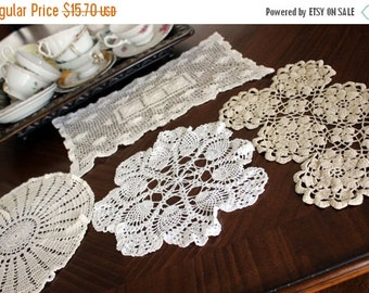 4 Assorted Crochet Doilies, Vintage Knit Doily, Light Ecru / Off White Lot 12136