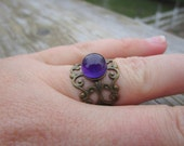 Purple Amethyst Boho Ring Adjustable Brass