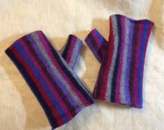Fingerless Gloves Purple Gray Wool Striped Felted Upcycled Wool Sweater