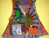 Hand painted denim vest fits XL 1X