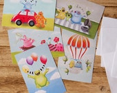 A set of 5 postcards collection or children's art print