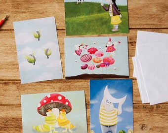 A set of 5 postcards collection or kids's art prints