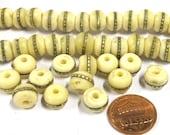 20 Beads - 10 mm Tibetan ivory white color bone beads with brass inlay - ML031CBA