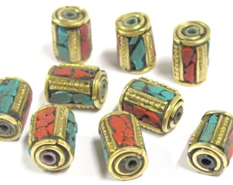 10 Beads - Tibetan brass beads with turquoise coral inlay from Nepal  - BD798s