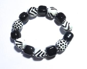 Beaded Bracelet, Kazuri Bangle, Fair Trade, Ceramic Jewelry, Black and White