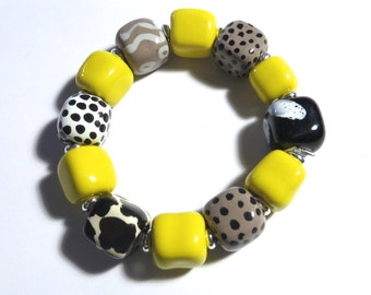 Beaded Bracelet, Kazuri Bangle, Fair Trade, Ceramic Jewellery, Black, Yellow, White and Grey Bangle
