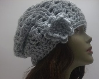 Winter Accessories Womens Light Gray Crocheted Cowl and Slouch gift for women under 60 dollars