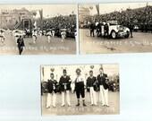 1924 Shrine Parade K.S. Mo. 3 Black and White Glossy Postcard, Town Event, Shriners Parade, Main Street K.S, Kansas City, Missouri, Picture
