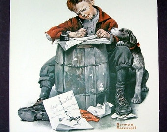Norman Rockwell  Love Letters, Faithful Dog , Gramps Saturday Evening Post, Reprint Poster Page, Wall
