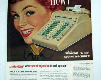 1955 National Adding Machine Magazine Print Page Ad, Live Keyboard, Register Adding Machine, Adjustable Keytouch, Keyboard Ad