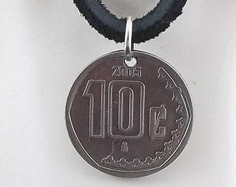 Mexican Coin Necklace, 10 Centavos, Coin Pendant, Leather Cord, Mens Necklace, Womens Necklace, 2005