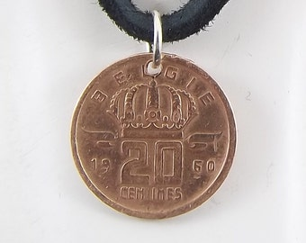 Belgium Coin Necklace, 20 Centimes, Coin Pendant, Leather Cord, Mens Necklace, Womens Necklace, Birth Year, 1960