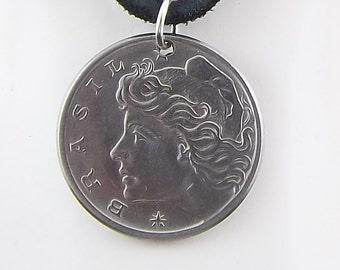 Brazil Coin Necklace, 10 Centavos, Coin Pendant, Leather Cord, Mens Necklace, Womens Necklace, 1974